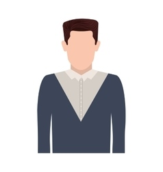 Half body silhouette man with hair straight vector