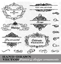 Hand Drawn Frame and Ornament Set vector