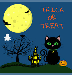 happy halloween a halloween cat with a medallion vector image