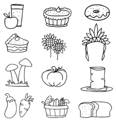 Happy thanksgiving element on doodles vector