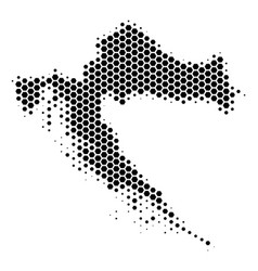 Hexagon halftone croatia map vector