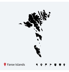 High detailed map of Faroe Islands with navigation vector