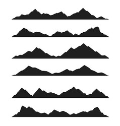 horizontal landscape with silhouette mountain peak vector image