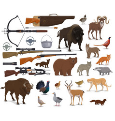 hunting ammo hunter trophy animals vector image