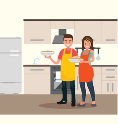 husband and wife are preparing together man and vector image