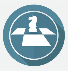 icon chess on white circle with a long shadow vector image