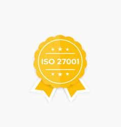 Iso 27001 information security standard badge vector