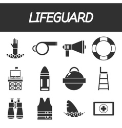 Lifeguard icon set vector