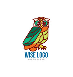 Logo template with side view owl portrait vector