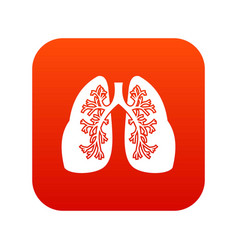 Lungs icon digital red vector