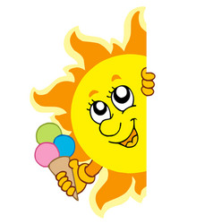 Lurking sun with icecream vector