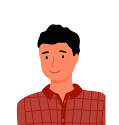 man in checkered shirt portrait closeup vector image