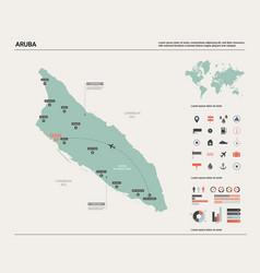 Map aruba high detailed country vector