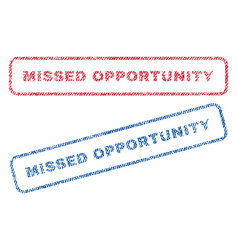 Missed opportunity textile stamps vector