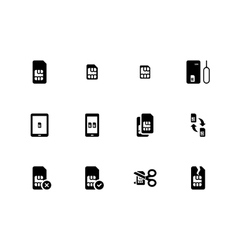 Mobile phone SIM icons on white background vector