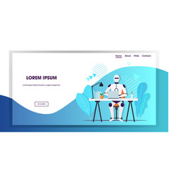 modern robot using laptop robotic businessperson vector image