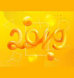 new year gradient figures 2019 design template vector image