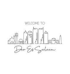 one continuous line drawing dar es salaam vector image