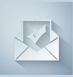 Paper cut envelope with document and check mark vector
