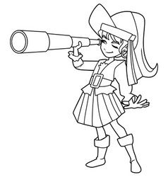 pirate girl line art vector image