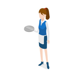 restaurant waitress holding round metal grey tray vector image