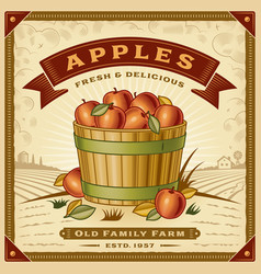 retro apple harvest label with landscape vector image