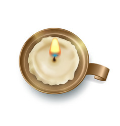 retro candlestick with candle vector image