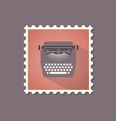 retro style typewriter flat stamp with shadow vector image