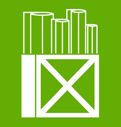 rolls of white paper in a wooden box icon green vector image