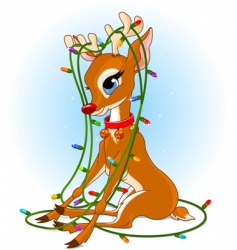 Rudolph Christmas lights vector