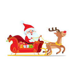 Santa riding in sleigh with reindeer animal vector