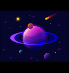 saturn planet solar system with stars futuristic vector image