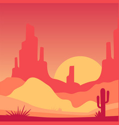 Scenery of desert with rocky mountains and cactus vector