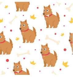 seamless pattern cute dog vector image