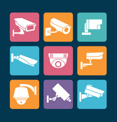 security cameras white icons on colorful backdrop vector image