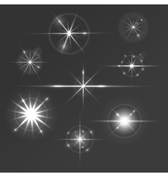 Set glowing stars with sparkles and circles vector