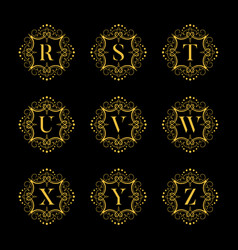 set luxury alphabet on the black background vector image vector image