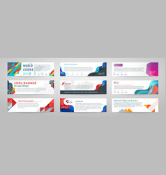 set of abstract horizontal banner vector image