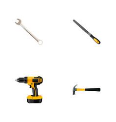 Set of instruments realistic symbols with rasp vector