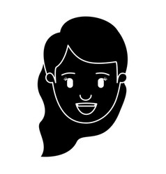 Silhouette black front view face woman with wavy vector