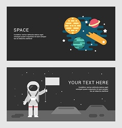 Space and Moon Landing Concept Set of Flat Style vector