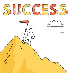 success promo banner with human on mountain peak vector image