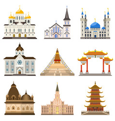 Temple icons set flat style vector