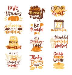 thanksgiving decoration lettering invitation logo vector image