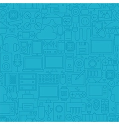 Thin Line Blue Electronic Gadgets Seamless Pattern vector