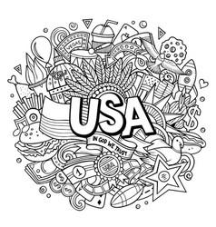 Usa hand drawn cartoon doodle vector