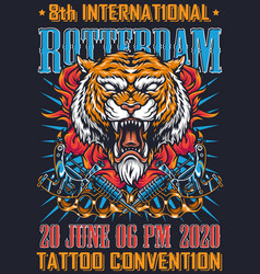 vintage tattoo convention colorful poster vector image
