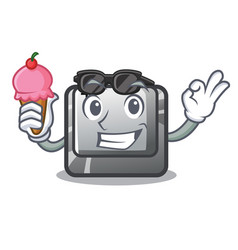 With ice cream t button installed on character vector
