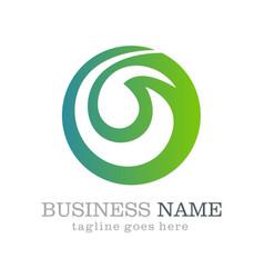 Green abstract round business logo design vector