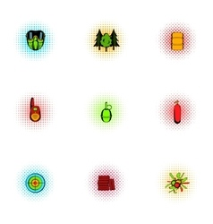 Shooting paintball icons set pop-art style vector image